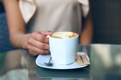Coffee. Girl morning day cafe hand cup woman fingers  person breakfast Royalty Free Stock Photos