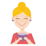 Coffee girl. Vector illustration of a cute  blonde girl in cartoon style holding a cup of tea or coffee Royalty Free Stock Photography