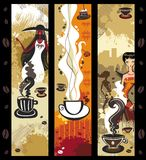 Coffee girls banners. Royalty Free Stock Photos