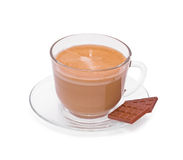 Coffee in a glass cap and chocolate Stock Images