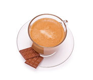 Coffee in a glass cap and chocolate Stock Photos