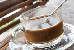 Coffee glass cup and saucer Stock Photo