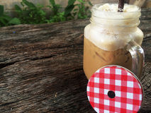 Coffee in glass. Ice coffee in glass on table Stock Photography