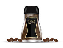Coffee Glass Jar with Instant Coffee Granules and Coffee Beans Isolated on White Background. Royalty Free Stock Images