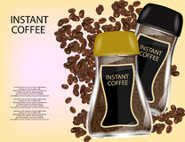 Coffee Glass Jar with Instant Coffee Granules and Coffee Beans Isolated on Yellow Background. Stock Image