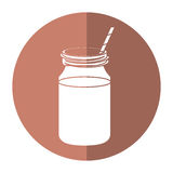 Coffee glass jar straw foam-circle icon shadow Royalty Free Stock Photography