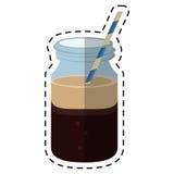 Coffee glass jar straw foam-cut line Stock Photos