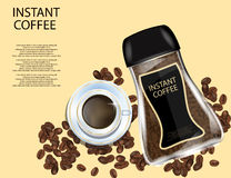 Coffee Glass Jar with White Cap, Instant Coffee Granules and Coffee Beans Isolated on Yellow Background. Stock Image