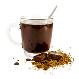 Coffee in a glass mug with chocolate Stock Photography