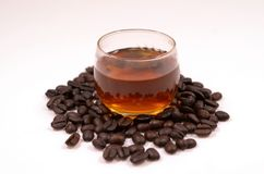 Coffee. In a glass of water from fresh  beans Stock Photos