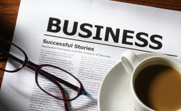 Coffee, Glasses and Business royalty free stock photo