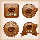 Coffee glossy labels. Set of different coffee glossy labels Stock Images