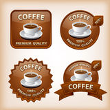 Coffee glossy labels. Set of different coffee glossy labels Royalty Free Stock Photos