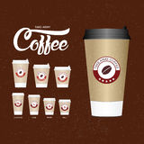 Coffee on the go cups. Different sizes of take away paper coffee cup Royalty Free Stock Image
