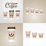 Coffee on the go cups. Different sizes of take away paper coffee cup stock illustration