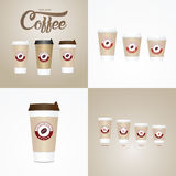 Coffee on the go cups. Different sizes of take away paper coffee cup Royalty Free Stock Photography