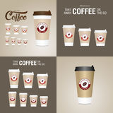 Coffee on the go cups. Different sizes of take away paper coffee cup Stock Photos