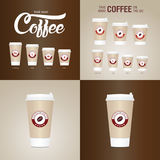Coffee on the go cups. Different sizes of take away paper coffee cup Stock Images