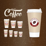 Coffee on the go cups. Different sizes of take away paper coffee Royalty Free Stock Images