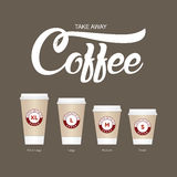 Coffee on the go cups. Different sizes of take away paper coffee Royalty Free Stock Photography