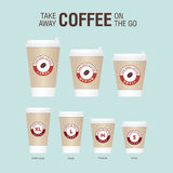Coffee on the go cups. Different sizes of take away paper coffee Stock Photo
