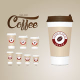 Coffee on the go cups. Different sizes of take away paper coffee Stock Photography