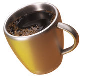 Coffee in a golden cup Stock Photography