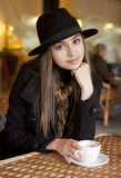 Coffee with a gorgeous brunette. Stock Photography