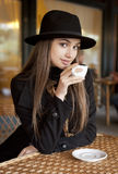 Coffee with a gorgeous brunette. Royalty Free Stock Images