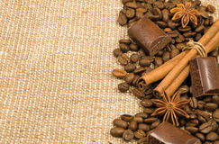 Coffee grain, cinnamon, chocolate and anise Royalty Free Stock Photography