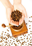 Coffee grain and coffee mill Royalty Free Stock Photography