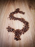 Coffee grain. Dollar finance simbol Royalty Free Stock Image