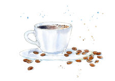 Coffee and grain. Drink painting. Watercolor hand drawn illustration Stock Photo