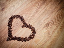 Coffee. Grain heart love brown Stock Image