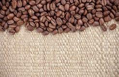 Coffee grain on hemp bag Stock Photography