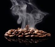 Coffee grain with smoke Stock Image