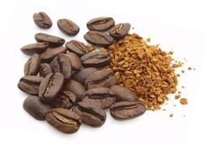 Coffee grain and soluble Royalty Free Stock Images