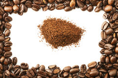 Coffee grain surrounded by coffee beans. Some coffee grain surrounded by coffee beans on white background royalty free stock photography