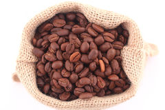 Coffee grains. In canvas bag isolated on white Royalty Free Stock Photography