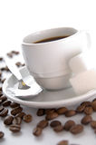 The coffee and the grains Stock Images