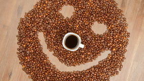 Coffee grains arranged in smiley Stock Photography