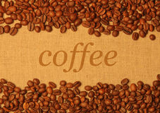 Coffee grains background with copy space Royalty Free Stock Photography