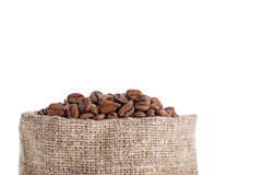 Coffee grains in bag Royalty Free Stock Photos