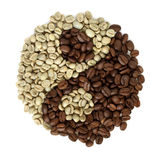 Coffee grains beans forming a yin yang symbol Stock Image