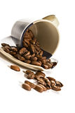 Coffee grains in brown cup Stock Images