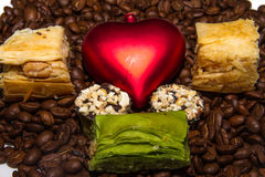 Coffee. Grains Cheerfulness Satisfaction Black Complaint Fragrance Exquisite Morning Taste Charming Fried Caffeine Energy Gourmet Drink Heart Sweet Candy Royalty Free Stock Image