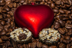 Coffee. Grains Cheerfulness Satisfaction Black Complaint Fragrance Exquisite Morning Taste Charming Fried Caffeine Energy Gourmet Drink Heart Sweet Candy Stock Photos