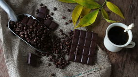 Coffee Grains chocolate and cup of coffee stock video