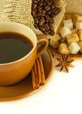 Coffee grains with cinnamon Stock Photography