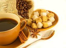 Coffee grains with cinnamon and an anise Royalty Free Stock Photography